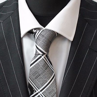 Tie Neck tie with Handkerchief Black & White Check