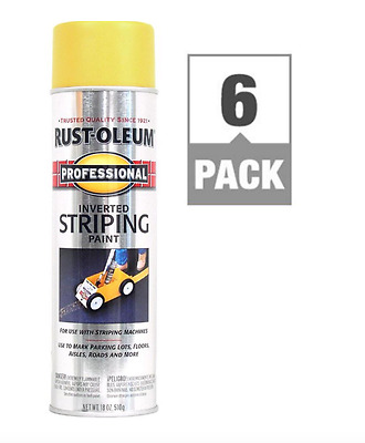 Rust Oleum Striping Inverted Stripe Machine Gloss Spray Paint Can 18 Oz 6 Pack