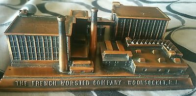 """1920's Cast Metal Replica Building """"the French Worcested Company"""" Woonsocket Ri"""