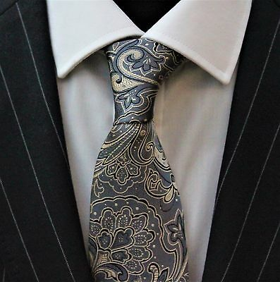 Tie Neck tie with Handkerchief Grey & Gold