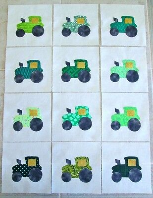 "Set of 12 Green Farm Tractor  6"" x 6""  Cotton Quilt  Blocks"