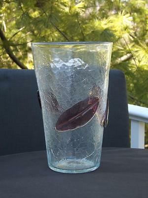 "Blenko Crackle Glass Vase Purple Leaves #366 10"" Tall"