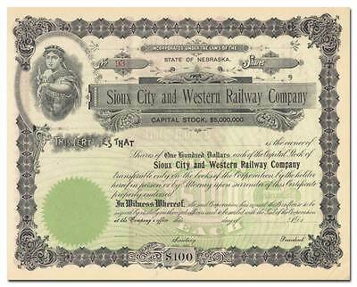 Sioux City and Western Railway Company Stock Certificate