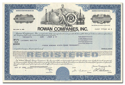 Rowan Companies, Inc. Bond Certificate (Oil Drilling)