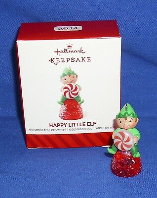 Hallmark Miniature Ornament Happy Little Elf 2014 Pixie Peppermint Gumdrop NIB 3