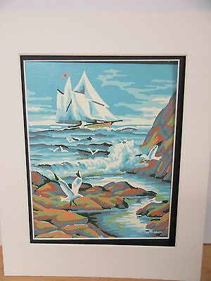 Finished Paint by Number Sailing Ship Seagull Ocean Sea Bird Completed Vintage