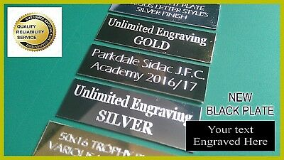 Trophy Plates Plaques UNLIMITED FREE ENGRAVING GOLD, SILVER & BLACK