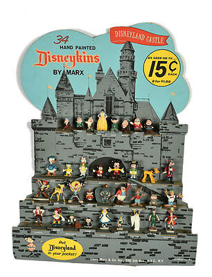 Rare Marx Disneykins Disney Land Castle Counter Display Complete With 34 Figures