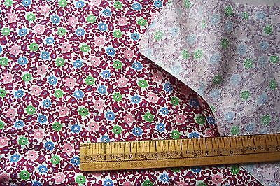 "Vtg 40's Cotton Calico Dress or Quilt fabric 36"" Wide Feedsack Yard Goods"