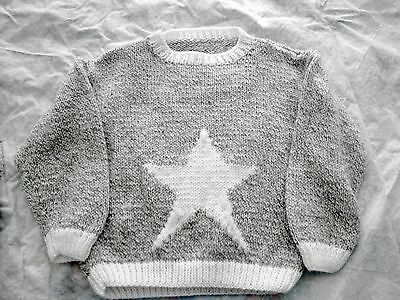 Beautiful White Star Variegated Gray Knitted Pullover, Unisex Child Size 8