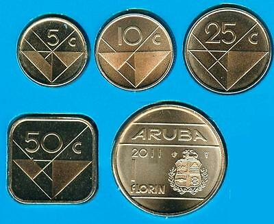 Aruba: 5 Pc Uncirculated Coin Set, 0.05 To 1 Florin