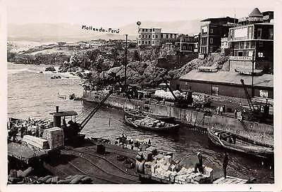 MOLLENDO, PERU ~ HARBOR OVERVIEW, BOATS, REAL PHOTO PC ~ c. 1910-1920's