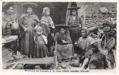 CUSCO, PERU, INCA INDIANS, SOME WEAVING & DRINKING, REAL PHOTO PC used c. 1950's