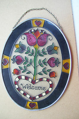 "Stained Glass WELCOME  Window  7"" Sun Catcher Heart &  Flowers"