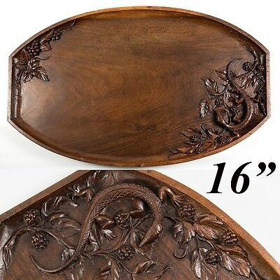 "Wonderful Antique Hand Carved Serving Tray, Grapes, Leaves, Lizard and 16"" Long"