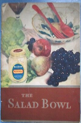 Vintage 1930 Best Foods Mayonnaise The Salad Bowl Advertising Cook Booklet