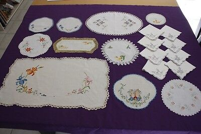 10 Vintage Cream & White Linen Embroidered Crocheted Doilies +8 Serviettes #170