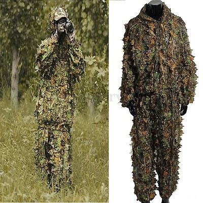 3D Jungle Woodland Leaves Camouflage Forest Ghillie Hide Hunting Shooting Suit