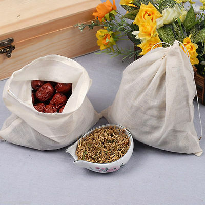 6x8in Natural Cotton Muslin Drawstring Bags 15x20cm Tea Spice Herb