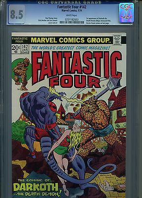 Fantastic Four #142 CGC 8.5 (1974) 1st First Darkoth Doctor Doom White Pages