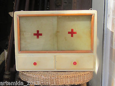 Antique Vintage Wooden Apothecary Medicine Chest Wall Cabinet Cupboard Red Cross