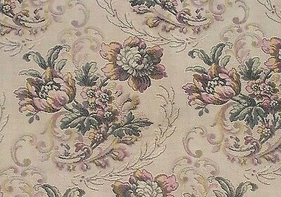 Antique Vintage French Tapestry Weave Fabric Large Floral Cartouche Scrolls