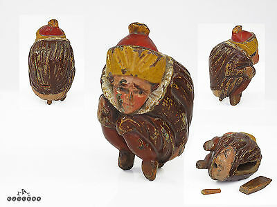 18th Century Polychrome Risque Figural Fruitwood Snuff Box