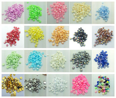 New 4mm 6mm 8mm Half Round Pearl Bead Flat Back Scrapbook For Craft Pick Colors