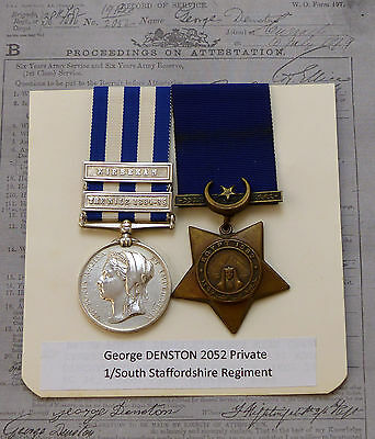 Eqypt Medal 2 Clasps plus Khedives Star 1882 - South Staffs Regt