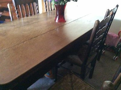Oak antique dining table and chairs Edwardian Circa 1910