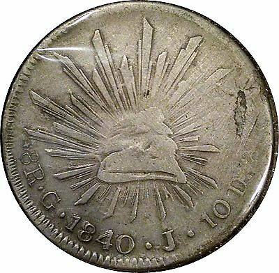 Mexico 1840 Gj Cap & Rays 8 Reales ~ Neat Contemporary Counterfeit ~ Double Date