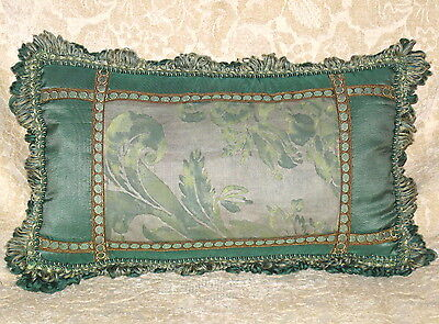 Lovely Green Fortuny And Scalamandre Lumbar Pillow
