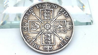 Great Britain Double Florin, 1890 Half Crown Rare Silver Victoria Coin