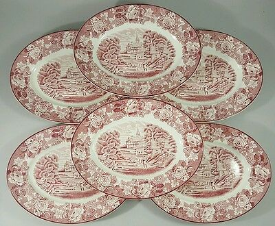 """Set 6 Oval Serving Platters 10.5"""" ENOCH WOODS WARE English Scenery Red Pink MINT"""