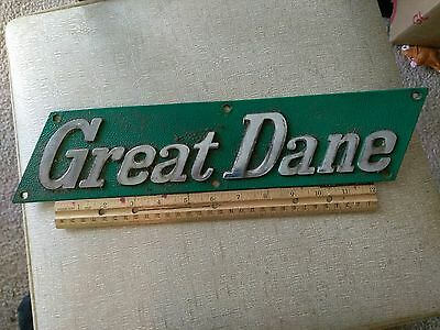 "Vintage Green Great Dane Cast Aluminum Advertising Dog Sign. 15.75"" X 3.5"" Inch"