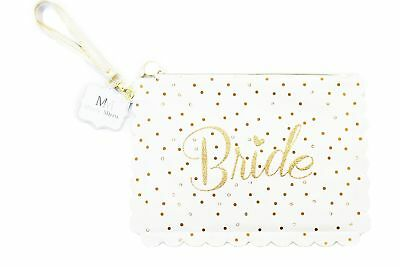 Bride Makeup Cosmetic Bag White Gold Glitter Bridal Shower Gift Accessory To Be