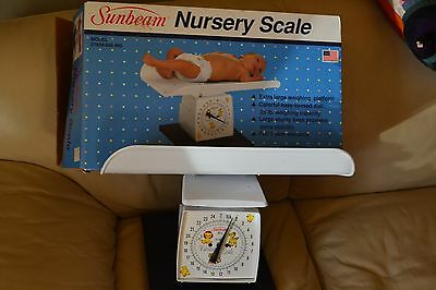 Vintage Beautiful Sunbeam Nursery Baby Scale - Excellent Condition W/Box