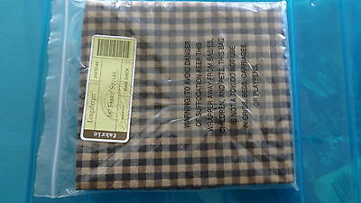 "Longaberger Khaki Check 14"" Fabric Square or Single Napkin Liner - NEW"