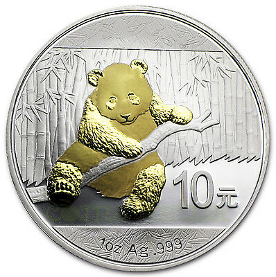 Chinese Panda 1 oz Silver Coin 24K Gilded  Proof 2014 in Capsule