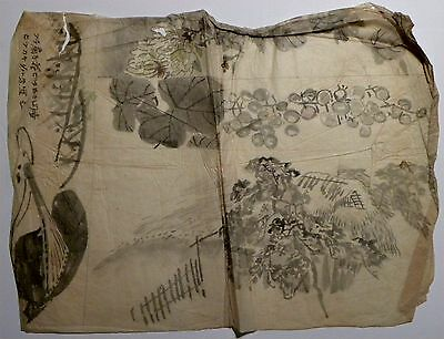 2420 Original 19th c Japanese Ink Drawing on Tissue Sumi-e Garden Plants Flowers