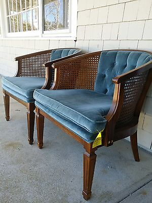 Vintage BROYHILL Mid-Century Modern Cane Barrel Chairs Velveteen Tufted Pair EUC & VINTAGE BROYHILL MID-CENTURY Modern Cane Barrel Chairs Velveteen ...