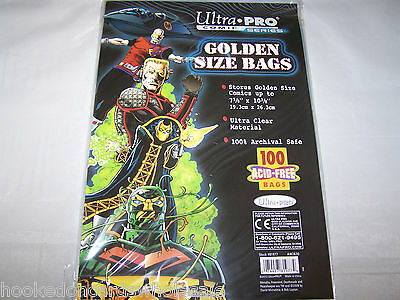 "1 Pack of 100 Ultra Pro 7 5/8"" Golden Age Comic Book Bags & Backer Boards"