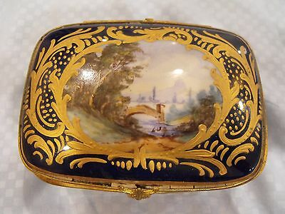 Antique Sevres Style Gilt Cobalt Porcelain Hand Painted Jewelry / Trinket Box