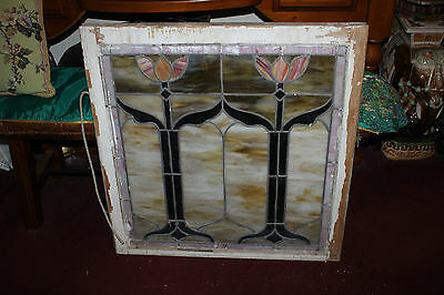 Antique Victorian Art Deco Stained Glass Window-Tulip Lotus Flowers-LARGE