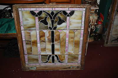 Antique Victorian Art Deco Stained Glass Window-Tulip Flowers-LARGE-Architecture