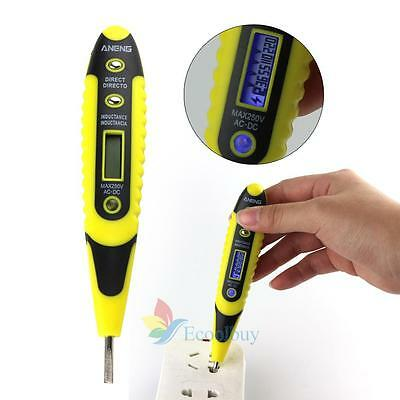 AC/DC Non-Contact Electric Test Pen Voltage Digital Detector Tester 12~250V LCD