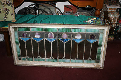 Antique Victorian Art Deco Stained Glass Window-Flowers-LARGE LONG-Architecture