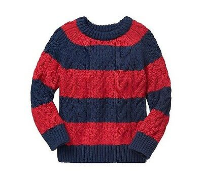 NWT Baby Gap Boy's Crewneck Pullover Cable Knit Sweater Size 2 Yrs, 4Yrs