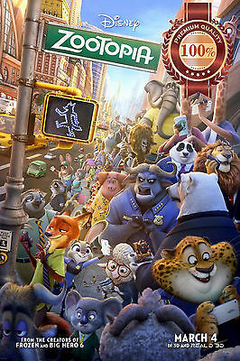 New Zootopia 3D Movie Characters Walking Through City Art Print - Premium Poster