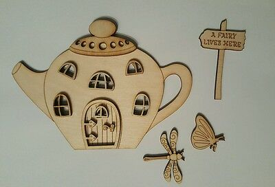 Mdf Fairy Door  Teapot  House shape DIY 13 pcs